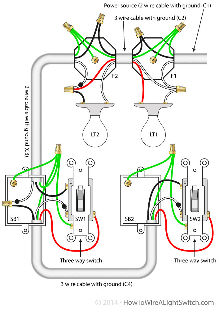 3 way switch how to wire a light switch circuit diagram for 3 way switches controlling two lights the power feed via the light