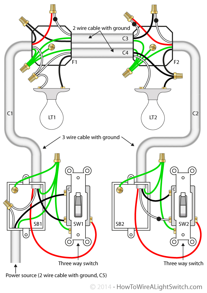 two lights between 3 way switches power via a switch how to wire rh howtowirealightswitch com wiring 2 light switches in one box wiring 2 light switches